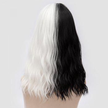 Medium Full Bang Color Block Natural Wave Synthetic Party Wig - WHITE/BLACK