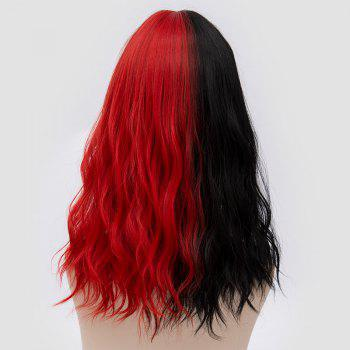 Medium Full Bang Color Block Natural Wave Synthetic Party Wig - RED/BLACK