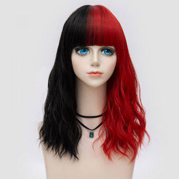 Medium Full Bang Color Block Natural Wave Synthetic Party Wig - RED WITH BLACK RED/BLACK