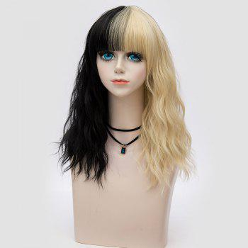 Medium Full Bang Color Block Natural Wave Synthetic Party Wig - BLACK/GOLDEN
