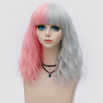 Medium Full Bang Color Block Perruque naturelle Party Wave Synthetic Party - Rose et Gris
