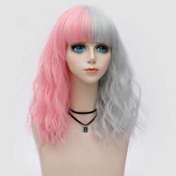 Medium Full Bang Color Block Natural Wave Synthetic Party Wig - PINK AND GREY PINK/GREY
