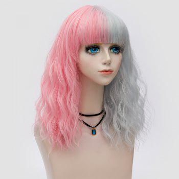 Medium Full Bang Color Block Natural Wave Synthetic Party Wig -  PINK/GREY