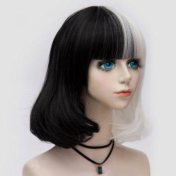 Medium Neat  Bang Fluffy Two Tone Straight Bob Party Synthetic Wig -  WHITE/BLACK
