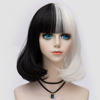 Medium Neat  Bang Fluffy Two Tone Straight Bob Party Synthetic Wig - WHITE AND BLACK WHITE/BLACK