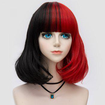 Medium Neat  Bang Fluffy Two Tone Straight Bob Party Synthetic Wig - BLACK AND RED BLACK/RED