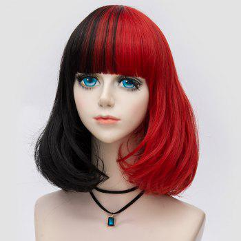 Medium Neat  Bang Fluffy Two Tone Straight Bob Party Synthetic Wig -  BLACK/RED