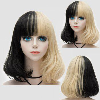 Medium Neat  Bang Fluffy Two Tone Straight Bob Party Synthetic Wig - BLACK + GOLDEN BLACK / GOLDEN
