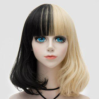 Medium Neat  Bang Fluffy Two Tone Straight Bob Party Synthetic Wig -  BLACK / GOLDEN