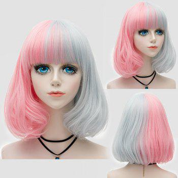 Medium Neat  Bang Fluffy Two Tone Straight Bob Party Synthetic Wig - PINK + GRAY PINK / GRAY