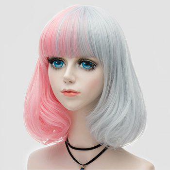 Medium Neat  Bang Fluffy Two Tone Straight Bob Party Synthetic Wig - PINK / GRAY