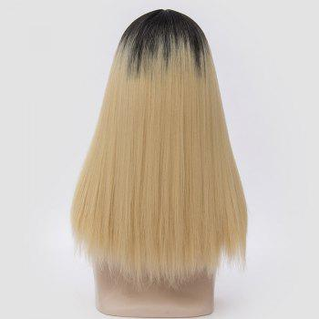 Middle Part Fluffy Ombre Long Straight Synthetic Party Wig -  LIGHT GOLD