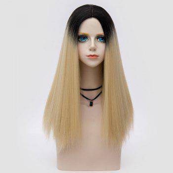 Middle Part Fluffy Ombre Long Straight Synthetic Party Wig - LIGHT GOLD LIGHT GOLD