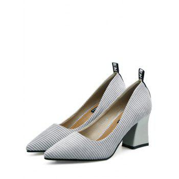 Pointe Toe Chunky Heel Stripes Pumps - Gris 38