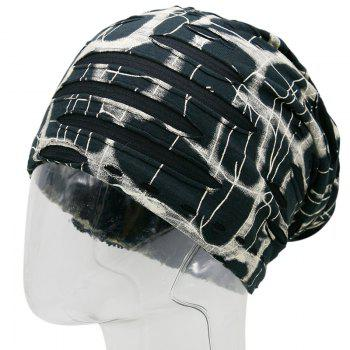 Plaid Stripe Print Knit Ripped Beanie - BEIGE BEIGE