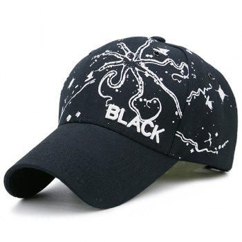 Black Embroidered Handpainted Print Baseball Hat - BLACK BLACK