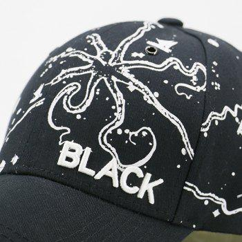 Black Embroidered Handpainted Print Baseball Hat -  BLACK