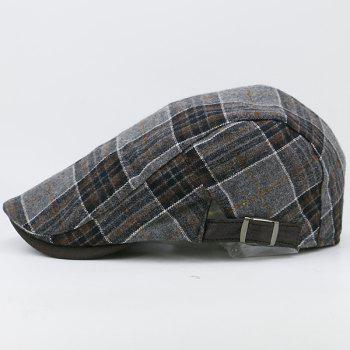 Faux Woolen Tartan Pattern Cabbie Hat - COFFEE