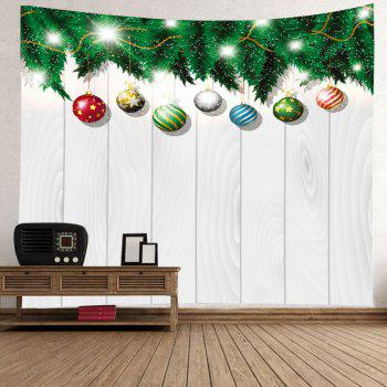 Christmas Baubles Wood Print Tapestry Wall Hanging Art - WHITE W91 INCH * L71 INCH