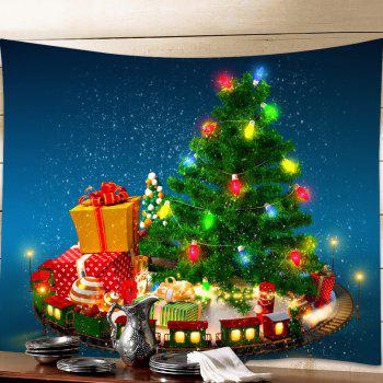 Christmas Tree Gifts Print Tapestry Wall Hanging Art - GREEN W91 INCH * L71 INCH