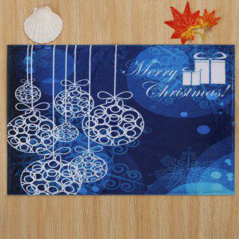 Merry Christmas Graphic Antiskid Bath Mat - Bleu W24 INCH * L35.5 INCH