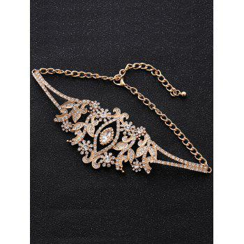 Sparkly Rhinestoned Alloy Leaf Necklace - GOLDEN