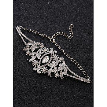 Sparkly Rhinestoned Alloy Leaf Necklace -  SILVER