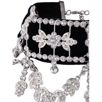 Rhinestone Alloy Leaf Flower Choker Necklace -  SILVER