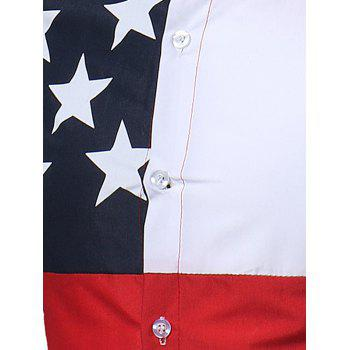 Patriotic Color Block Stars Print Shirt - COLORMIX 2XL