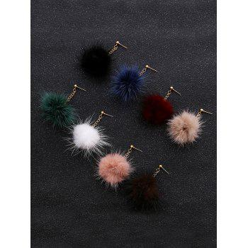 Fuzzy Ball Chain Earrings -  BROWN