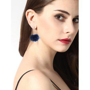 Fuzzy Ball Chain Earrings -  NAVY BLUE