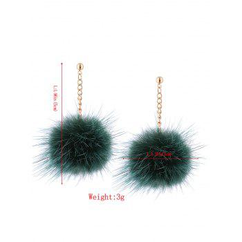 Fuzzy Ball Chain Earrings - GREEN