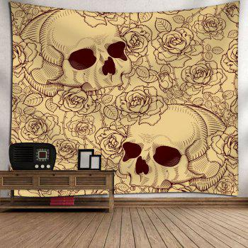Floral Skull Print Bedroom Wall Tapestry - YELLOW YELLOW