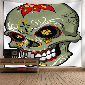 Wall Hanging Floral Skull Print Tapestry - WHITE WHITE