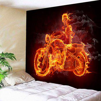 Halloween Skull By Motorcycle Wall Decor Waterproof Tapestry - COLORFUL COLORFUL