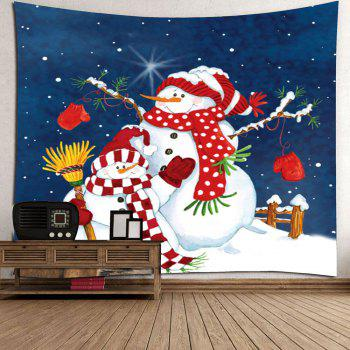 Christmas Snowman Printed Waterproof Wall Tapestry - COLORFUL COLORFUL