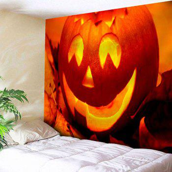 Wall Hanging Pumpkin Lantern Halloween Tapestry - ORANGE ORANGE