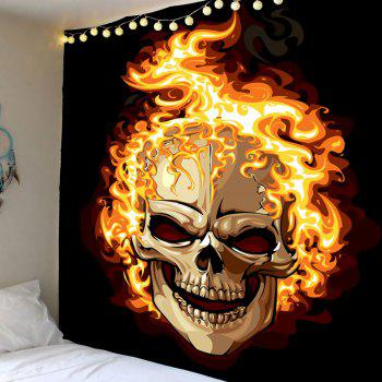 Wall Hanging Halloween Burning Skull Printed Tapestry - COLORMIX COLORMIX