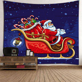 Waterproof Christmas Carriage Santa Claus Pattern Wall Hanging Tapestry - COLORFUL COLORFUL