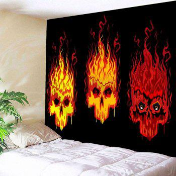 Fire Skulls Print Wall Decor Tapestry - BLACK W91 INCH * L71 INCH