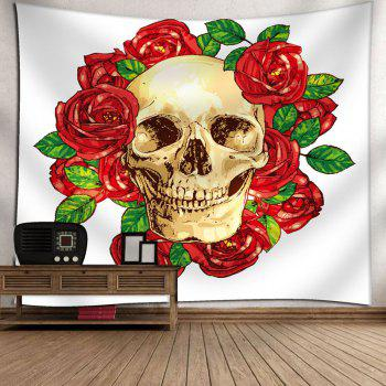 Floral Skull Print Wall Hanging Tapestry - W91 INCH * L71 INCH W91 INCH * L71 INCH