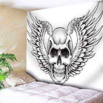 Wall Decor Skull Wings Print Tapestry - WHITE W91 INCH * L71 INCH