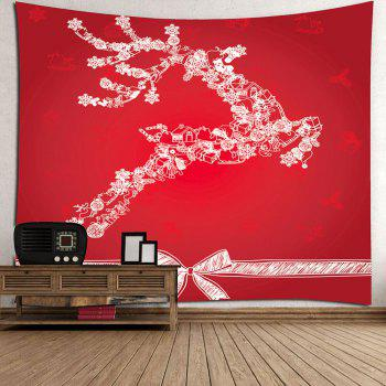 Christmas Reindeer Printed Wall Decor Tapestry - RED RED