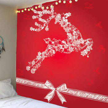 Christmas Reindeer Printed Wall Decor Tapestry - RED W79 INCH * L71 INCH