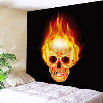 Wall Hanging Fire Skull Bedroom Tapestry - BLACK W71 INCH * L71 INCH
