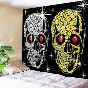 Wall Decor Halloween Gold Sliver Coin Skulls Waterproof  Tapestry - BLACK BLACK