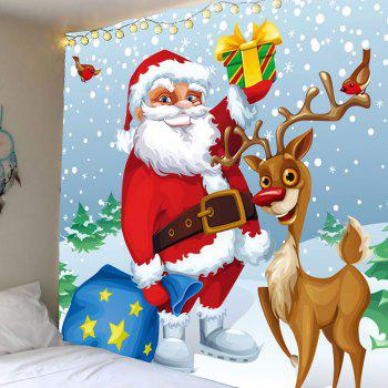 Santa Elk Pattern Waterproof Christmas Wall Hanging Tapestry - COLORFUL W79 INCH * L59 INCH