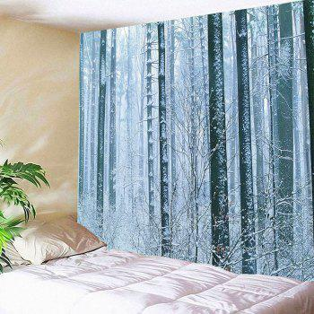 Wall Art Snow Forest Printed Waterproof Hanging Tapestry - WHITE WHITE