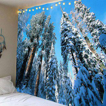 Wall Art Snow Trees Hanging Waterproof Tapestry - WHITE WHITE