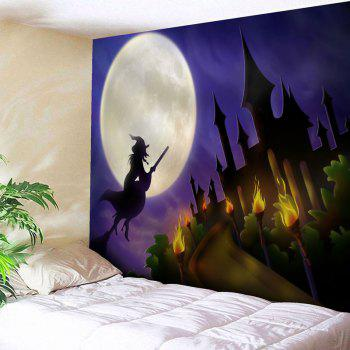 Halloween Witch Moon Printed Wall Tapestry - PURPLE PURPLE